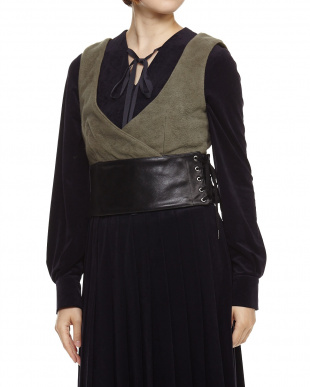 Khaki  Leather Belt Vest見る