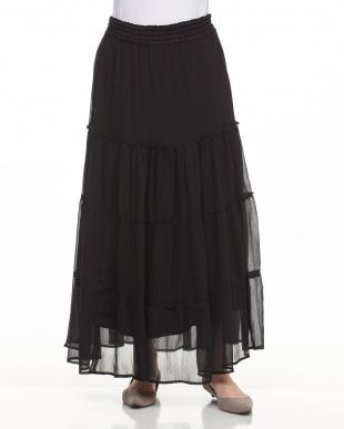BLACK シアーティアードスカート見る