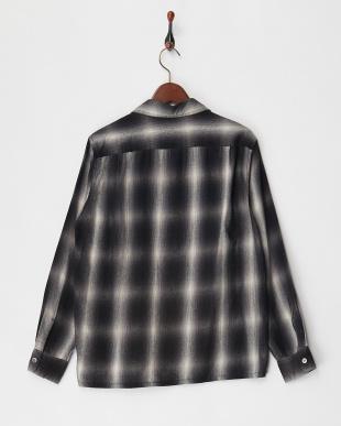 BLACK  オンブレーチェックオープンカラーシャツ見る