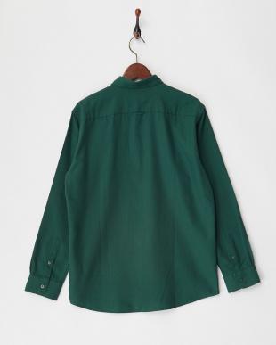 グリーン ダブルピーチ起毛レギュラーシャツ見る