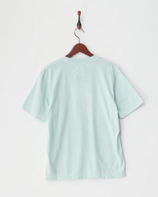 ライトクグリーン ガーメントダイ裾ラウンドTシャツ見る