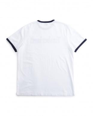 ホワイト 半袖 リニア ロゴ ティー見る