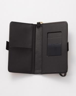 ブラック 水彩フラワー スマートフォン用手帳型マルチケース見る