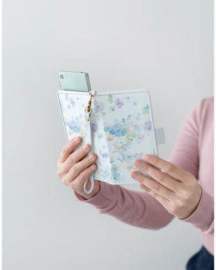 ブルー 水彩フラワー スマートフォン用手帳型マルチケース見る