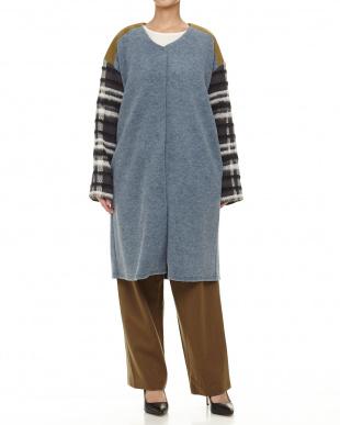 ブルー Ultoraloft knit×Check Tweed CO見る