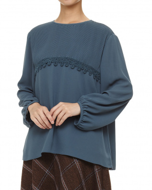 ブルー Crepe Pleats TOP見る