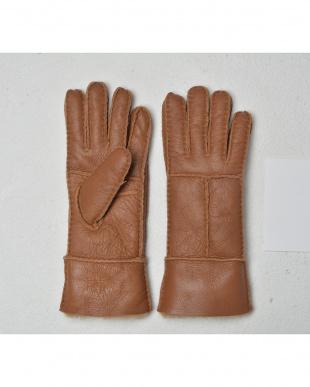 キャメル  天然ムートンの手袋見る