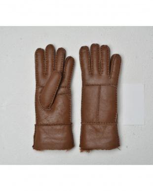 ダークブラウン  天然ムートンの手袋見る