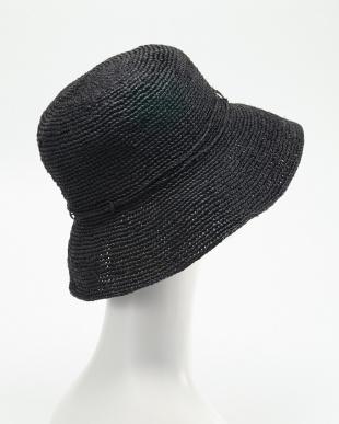 ブラック  ラフィアの帽子見る