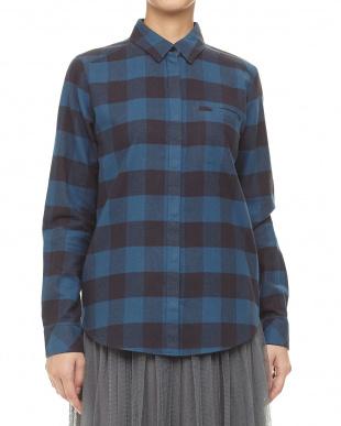 ブルー系 ブロックチェックシャツ見る