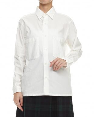 ホワイト ガーメントダイシャツ羽織り見る