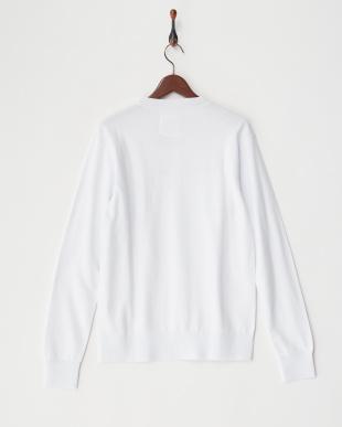 ホワイト  リネン裏毛スウエットシャツ見る