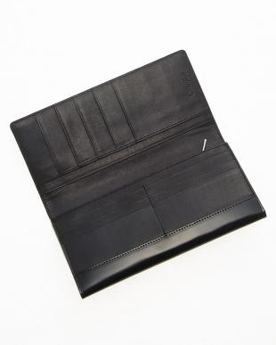 ブラック コードバン フラップ長財布見る