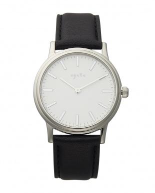 シルバー/ブラック系  AGETE45SVクオーツ腕時計見る