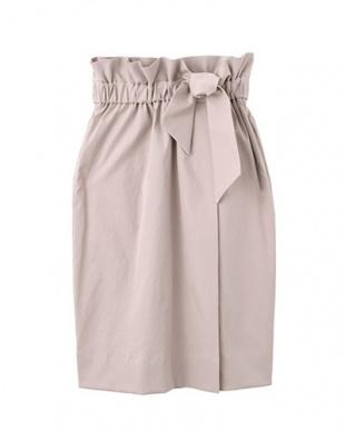 ピンク 洗えるハイウエストリボンスカート見る