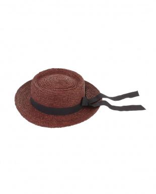 ブラウン ラフィアバックリボンカンカン帽 dazzlin見る