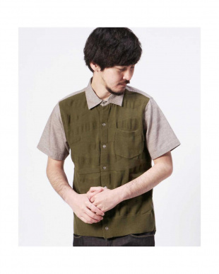 BEIGE MID1 CHAMBRAY FRONT KNIT S/S REG R/B COUPLES(オリジナル)見る