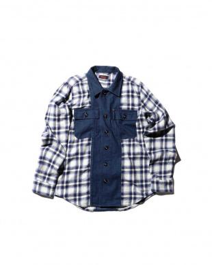 BLUE DK1 切り替えチェックシャツ R/B COUPLES(オリジナル)見る
