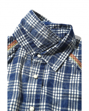 BLUE DK1 メンズインディゴチェックシャツ R/B COUPLES(オリジナル)見る