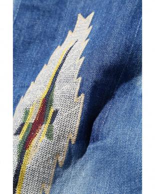 ブルー メンズ刺繍デニムパンツ R/B COUPLES(オリジナル)見る