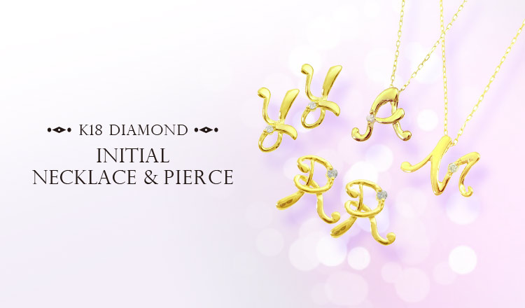 K18 DIAMOND INITIAL NECKLACE&PIERCE