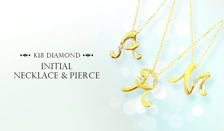 K18 DIAMOND INITIAL NECKLACE&PIERCE