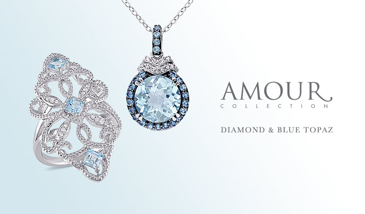 AMOUR JEWELRY COLLECTION-DIAMOND & BLUE TOPAZ -